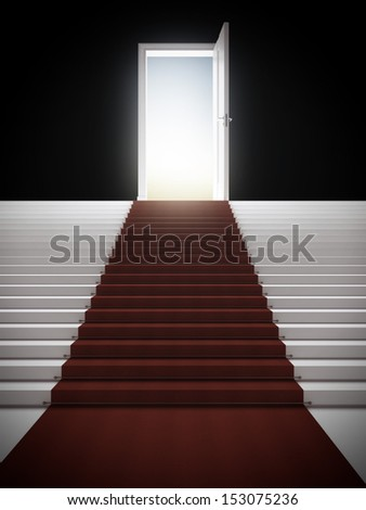 Stair with illuminated door - stock photo