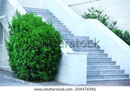 Staircase and entrance of house - stock photo
