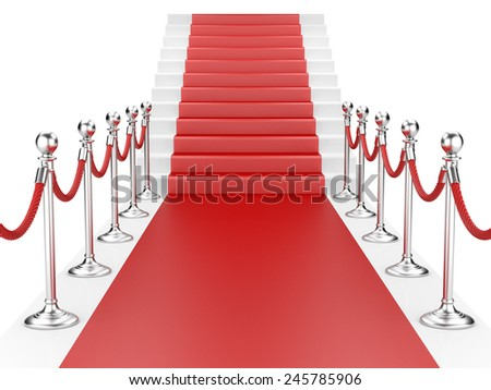 Staircase and red carpet between two metallic stanchions with rope. 3d illustration