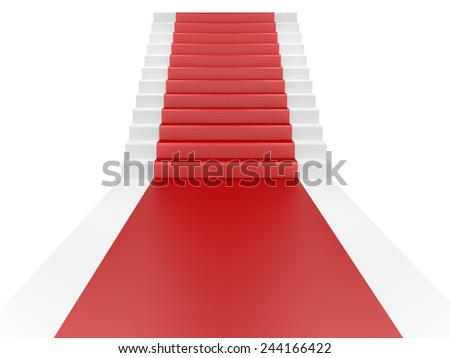 Staircase and red carpet. 3d illustration isolated on a white - stock photo