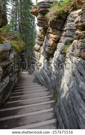 staircase between the rocks in Athabasca Falls in Canada