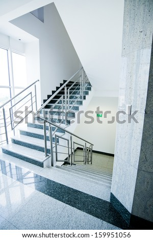 staircase - emergency exit in office building - stock photo