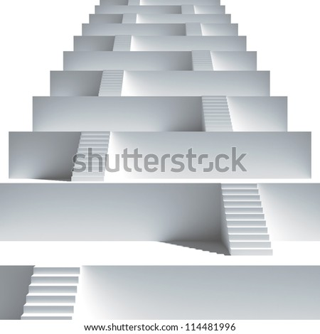 Staircase. Group from stairs. 3d render illustration - stock photo
