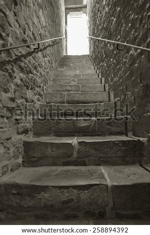 staircase in an old tunnel - stock photo