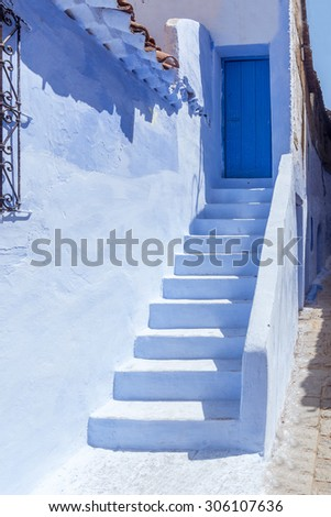 Staircase in the blue medina of Chefchaouen, Morocco - stock photo