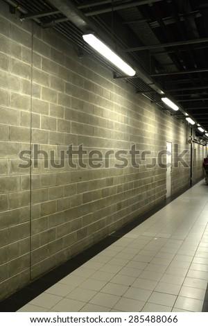 Staircase in underground concrete - stock photo
