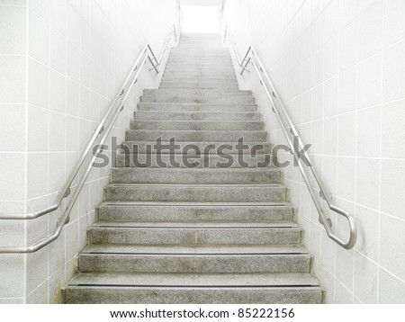 Staircase in underground passage - stock photo