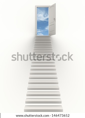 Staircase leading to a door opened to the sky. - stock photo
