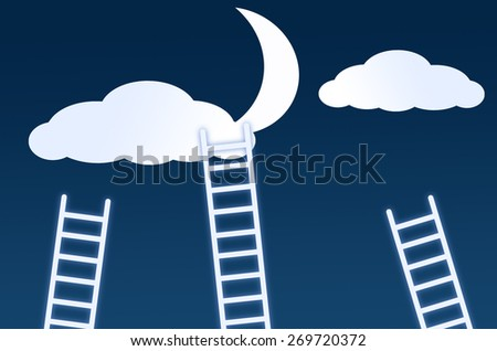 staircase leading to the clouds and moon - stock photo