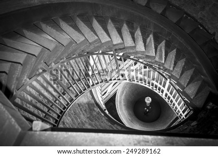 staircase of a bell tower that looks like an eye - stock photo