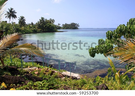Staircase on the beach in Upolu island, Samoa - stock photo