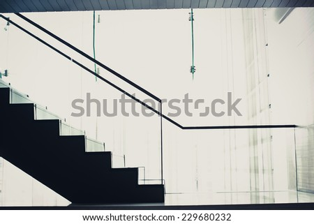 Staircase Silhouette going up - stock photo
