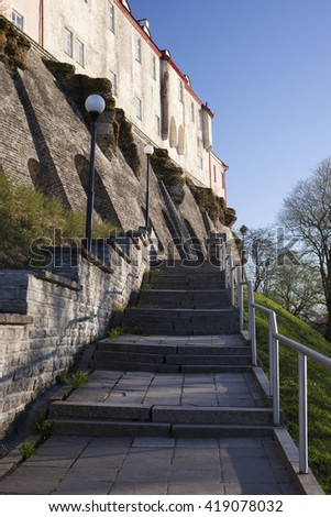 Staircase to upper town in Tallinn, Estonia