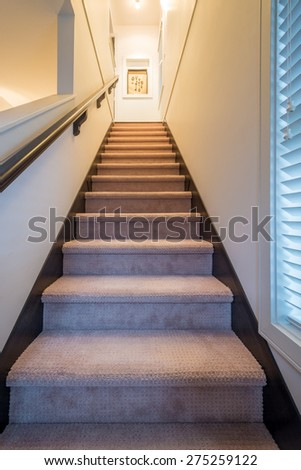 Staircase view. Stairs leading up to upper floor. Interior design. - stock photo