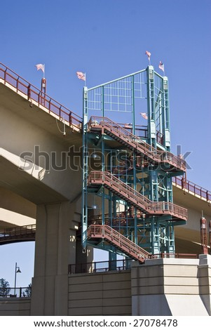 Staircase with American Flags flying. - stock photo