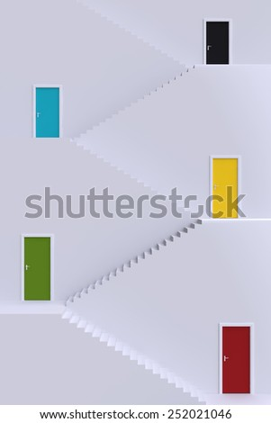 Staircase with floors and doors. 3d illustration. - stock photo