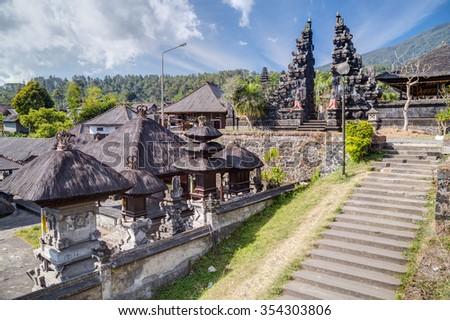 Stairs and gates in Pura Besakih Balinese temple - stock photo