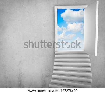 Stairs and magic doors leading to a cloudscape - stock photo