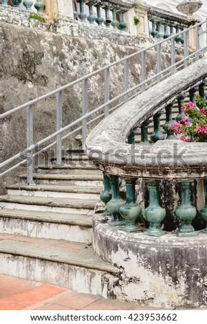 Stairs and railings made of cement retro style in Phra Nakhon Khiri Historical Park (Khao Wang), Phetchaburi, Thailand - stock photo