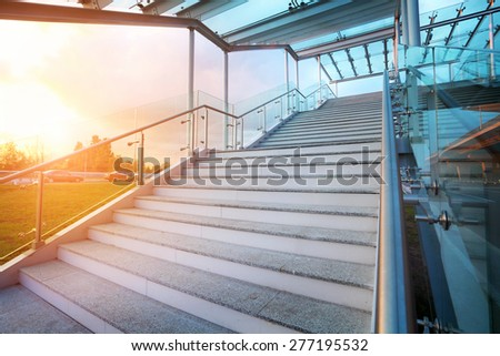 stairs and sky on background with no people, near a new airport - stock photo
