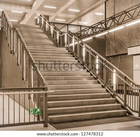 Stairs at a metro railway Station - Berlin Hauptbahnhof, U55 - stock photo