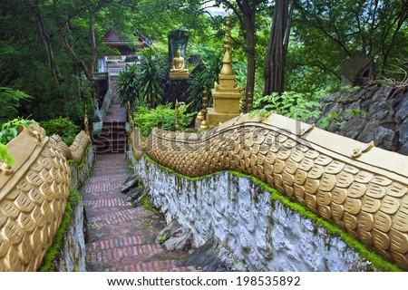 Stairs at Mount Phousi, Luang Prabang, Laos - stock photo