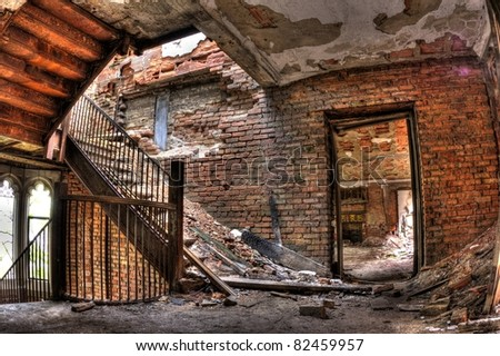 Stairs, bricks, windows, and rooms. Abandoned City Methodist Church in Gary, Indiana.