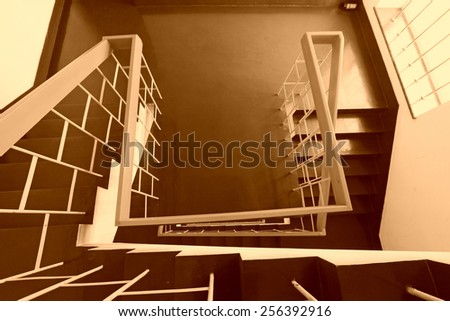 stairs down landscape in the Tangshan building, Beijing, China.   - stock photo