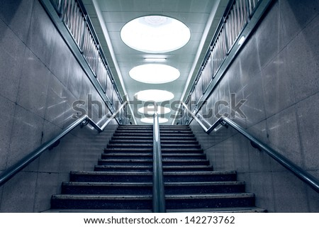 Stairs in a subway station of Beijing - stock photo