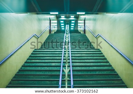 Stairs in an underground station - stock photo