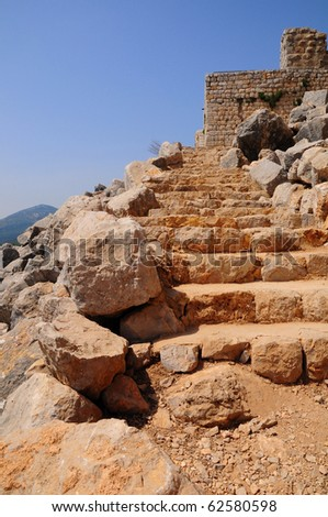 Stairs in half-ruined Nimrod Fortress. Nothern Israel. - stock photo