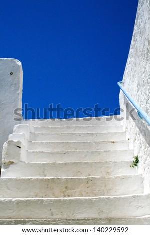 Stairs in Holy monastery of Chrysoskalitissa, Crete, Greece - stock photo
