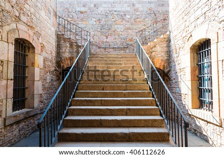 stairs in montjuic castle, barcelona - stock photo