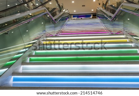 Stairs in train station - stock photo