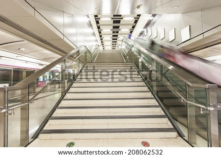 stairs in train station hongkong - stock photo