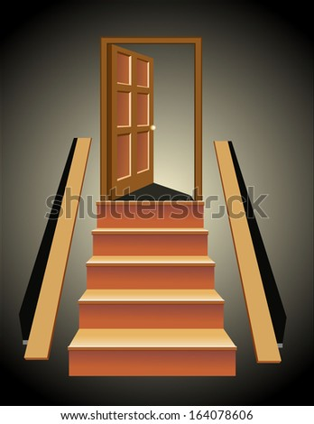 Stairs in up to an open door the leader to success - stock photo