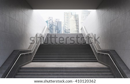 Stairs leading out of concrete pedestrian subway to the city. Concept of success. New York.  3D Rendering - stock photo