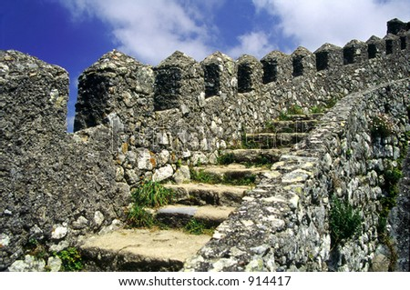 Stairs leading to an abandoned castle in Sintra, Portugal. - stock photo