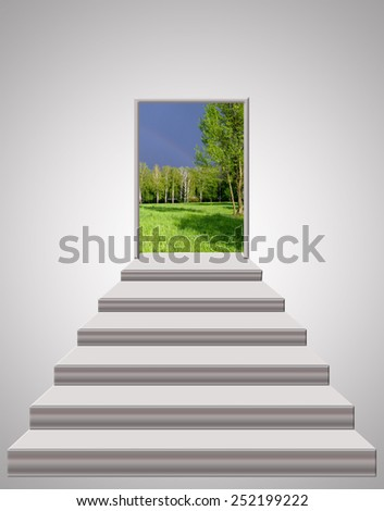 stairs leading to the door with thunder clouds and forest - stock photo