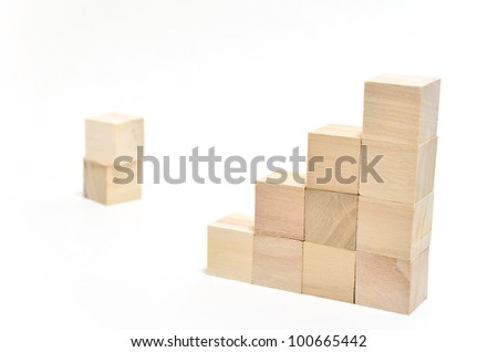 Stairs of square blocks. (on white background) - stock photo