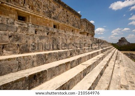 stairs of the governors palace in the ancient city of Uxmal  - stock photo