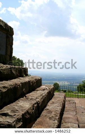 Stairs on a mountain - stock photo