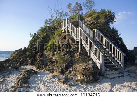 Stairs on the headland in the afternoon light at the pass on Cape Byron, Byron Bay, easternmost point of Australia