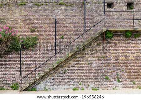 Stairs on the old medieval city wall, seen in Rye, Kent, UK. - stock photo