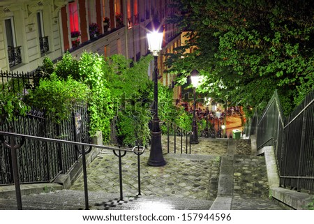Stairs on the way to the basilica Sacre-Coeur. Paris. France - stock photo