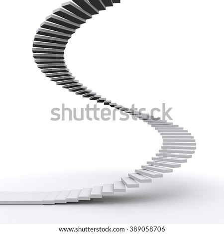stairs on white background - stock photo
