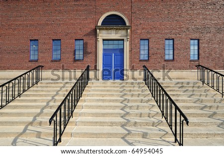Stairs to blue doors