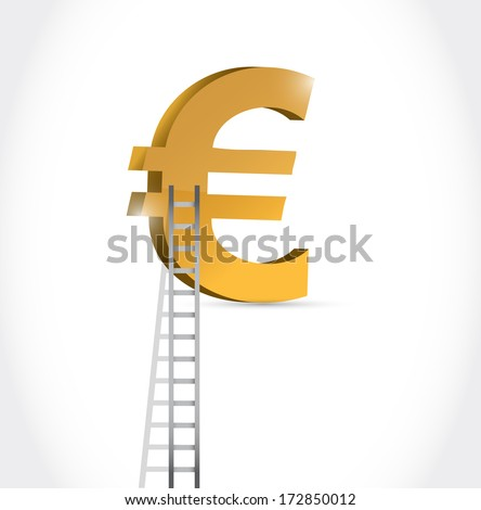 stairs to euro currency symbol illustration design over white - stock photo