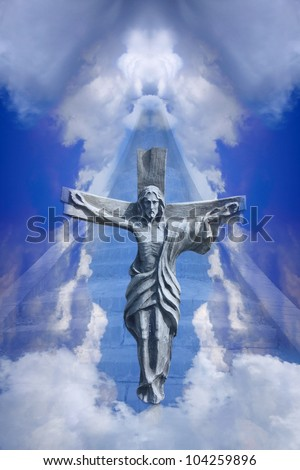 Stairs to heaven by Jesus Christ - stock photo