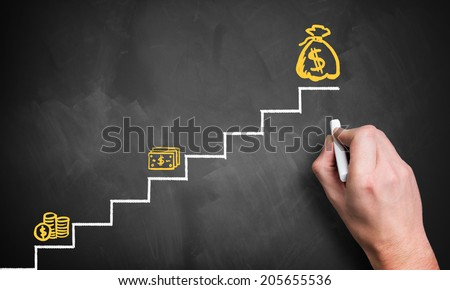 stairs to the big money - stock photo
